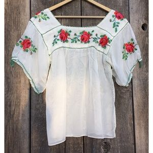 VTG Hand Made Cross-Stitched Roses Peasant Top, S